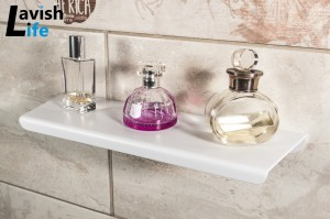 Matt white bathroom shelf