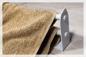 Matte white double towel rail